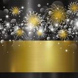 Diseño de la Feliz Año Nuevo en fondo del metal Fotografía de archivo libre de regalías