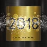 Diseño de la Feliz Año Nuevo 2018 en illustrati del vector del fondo del metal Fotos de archivo