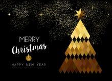 Diseño de la Feliz Navidad de árbol de pino polivinílico bajo del oro stock de ilustración