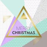Diseño de la Feliz Navidad del oro en fondo retro Imágenes de archivo libres de regalías