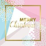 Diseño de la Feliz Navidad del oro para la tarjeta de felicitación Imagen de archivo libre de regalías