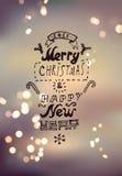Diseño de la Feliz Navidad y de la Feliz Año Nuevo Fondo borroso del vector EPS 10 Foto de archivo