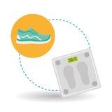 Diseño de la forma de vida, aptitud y concepto sanos del levantamiento de pesas Imagen de archivo libre de regalías