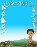 Diseño de la frontera con el muchacho y el camping Imágenes de archivo libres de regalías
