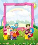 Diseño de la frontera con la familia musulmán libre illustration