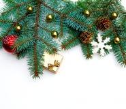 Diseño de la frontera de la decoración del árbol de navidad Foto de archivo libre de regalías