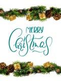 Diseño de la frontera de las decoraciones con Feliz Navidad del texto Caligrafía y letras Imagen de archivo libre de regalías