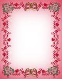 Diseño de la frontera de los corazones de la tarjeta del día de San Valentín Foto de archivo