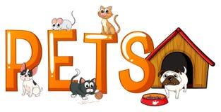 Diseño de la fuente con los animales domésticos de la palabra Imagen de archivo libre de regalías