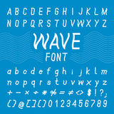 Diseño de la fuente de la onda, alfabeto del vector foto de archivo