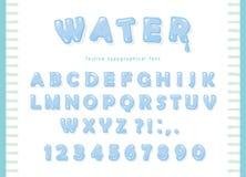 Diseño de la fuente del agua Letras y números brillantes transparentes de ABC Fotografía de archivo
