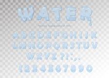 Diseño de la fuente del agua Letras y números brillantes transparentes de ABC Vector Fotografía de archivo