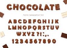 Diseño de la fuente del chocolate Letras y números brillantes dulces de ABC Imágenes de archivo libres de regalías