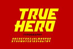 Diseño de la fuente del estilo de los tebeos, alfabeto inspirado super héroe, héroe verdadero imagen de archivo libre de regalías