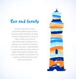 Diseño de la historieta de silueta exhausta del faro, faro Marine Symbol Imagenes de archivo