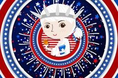 Dise?o de la historieta para los americanos el 4 de julio o D?a de la Independencia ilustración del vector