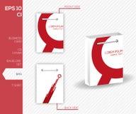 Diseño de la identidad corporativa para el negocio - bolso rojo abstracto del vector Fotografía de archivo