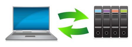 Diseño de la ilustración del concepto de la computadora portátil y de los servidores Fotografía de archivo libre de regalías