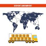 Diseño de la importación y de la exportación Imagen de archivo