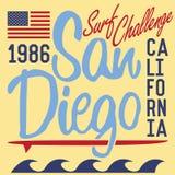 Diseño de la impresión de la camiseta, muestra de California San Diego de la etiqueta del Applique de la insignia del ejemplo del Imágenes de archivo libres de regalías