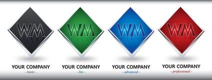 Diseño de la insignia de WM Imagenes de archivo