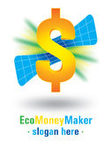 Diseño de la insignia del fabricante de dinero de Eco stock de ilustración