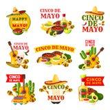 Diseño de la insignia del partido de la fiesta de Cinco de Mayo del mexicano ilustración del vector