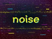 Diseño de la interferencia Inscripción amarilla torcida Ruido y pixeles en fondo oscuro Líneas de color y deformación de VHS stock de ilustración