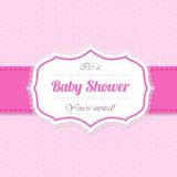 Diseño de la invitación de la fiesta de bienvenida al bebé en rosa Fotografía de archivo libre de regalías
