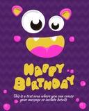Diseño de la invitación de la tarjeta del partido del monstruo Modelo del feliz cumpleaños Ilustración del vector Fotografía de archivo libre de regalías