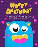 Diseño de la invitación de la tarjeta del partido del monstruo Modelo del feliz cumpleaños Ilustración del vector Fotografía de archivo