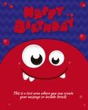 Diseño de la invitación de la tarjeta del partido del monstruo Modelo del feliz cumpleaños Ilustración del vector Foto de archivo