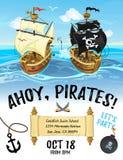 Diseño de la invitación de la historieta del partido del pirata con el barco pirata y el mar libre illustration