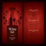 Diseño de la lista de vino Fotografía de archivo