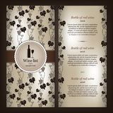 Diseño de la lista de vino Foto de archivo libre de regalías
