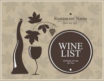 Diseño de la lista de vino para el café y el restaurante Imagen de archivo libre de regalías