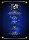 Diseño de la lista del menú del Año Nuevo Foto de archivo