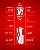 Diseño de la lista del menú del día de tarjetas del día de San Valentín con los platos y las bebidas Imagen de archivo