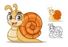 Diseño de la mascota del personaje de dibujos animados del caracol stock de ilustración