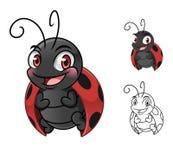 Diseño de la mascota del personaje de dibujos animados de la mariquita stock de ilustración