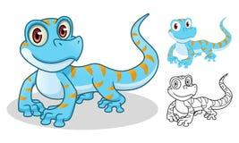Diseño de la mascota del personaje de dibujos animados de la salamandra ilustración del vector