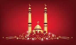 Diseño de la mezquita del vector en fondo rojo fotos de archivo