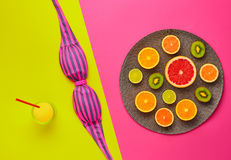 Diseño de la moda Sistema tropical del verano Color brillante Imagen de archivo libre de regalías