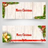 Diseño de la Navidad con el árbol de abeto en fondo de madera Plantilla de la bandera del web Ilustración del vector Imágenes de archivo libres de regalías
