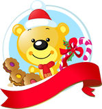 Diseño de la Navidad con el oso lindo del vector Fotografía de archivo