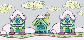 Diseño de la Navidad con las casas de hadas en nieve Foto de archivo libre de regalías