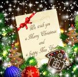 Diseño de la Navidad con las galletas del pan de jengibre Fotografía de archivo