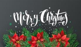 Diseño de la Navidad con las ramas de la poinsetia y del abeto libre illustration