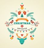Diseño de la Navidad con los pájaros, los elementos y los ciervos Imagen de archivo libre de regalías