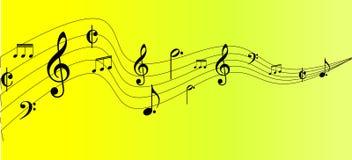 Diseño de la nota de la música en yeliow Fotografía de archivo libre de regalías